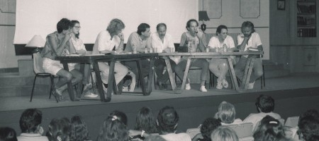 Fundação do PV, em janeiro de 86, no Teatro Clara Nunes (RJ). Da esquerda para a direita: Fernando Gabeira, Lucélia Santos, Alfredo Sirkis, John Neschling, Luis Alberto Py, Carlos Minc, Herbert Daniel e Guido Gelli.